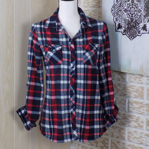 Passport blue and red plaid flannel